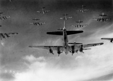 OVER GERMANY -- B-17 Flying Fortresses from the 398th Bombardment Group fly a bombing run to Neumunster, Germany, on April 8, 1945. On May 8, Germany surrendered, and Victory in Europe Day was declared. (Courtesy photo)