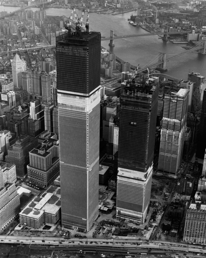 16th March 1971: The twin towers of the World Trade Center (World Trade Centre) under construction in New York City. (Photo by Keystone/Getty Images)