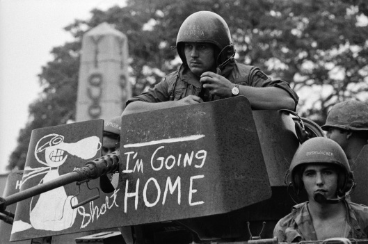 Original Caption: 9/30/71-Tay Ninh, S. Vietnam: Phrase on gun mount protective shield probably accurately expresses thoughts of GI tank crew member as elements of US armored units move back into combat base, Sept. 30th, recently turned over to Vietnamese forces. In Washington, Sept. 30th, unknowingly-- apparently sympathetic to this GI's wishes, the US Senatee, in a second rebuff of Pres. Nixon's Vietnam policies, voted for a total US withdrawal from Indochina by Spring, 1972.