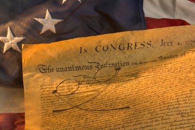 Declaration of Independence and American Flag