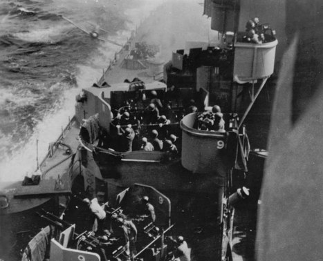 A Japanese Kamikaze is shown just before colliding with the USS Missouri during the Battle of Okinawa in the Pacific Ocean, April 11, 1945. Recent findings suggest the historic photo was taken by Baker 2nd Class Harold ``Buster'' Campbell, one of the ship's cooks. (AP Photo/Harold Campbell courtesy of Dan Campbell)